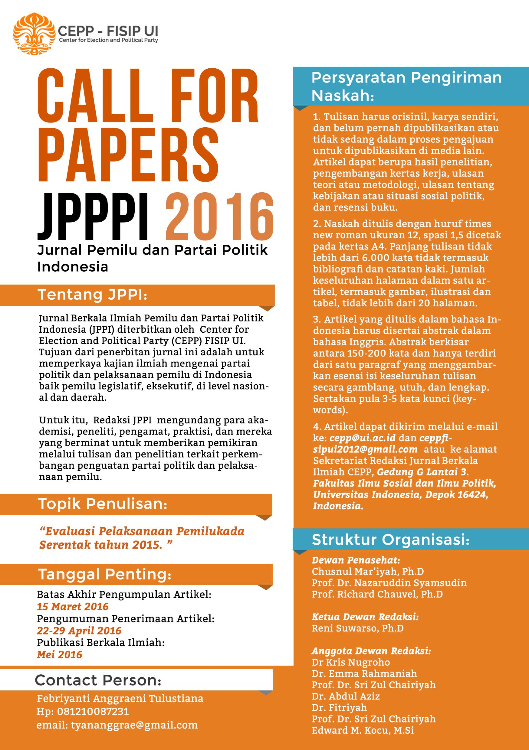 Call for Papers JPPPI